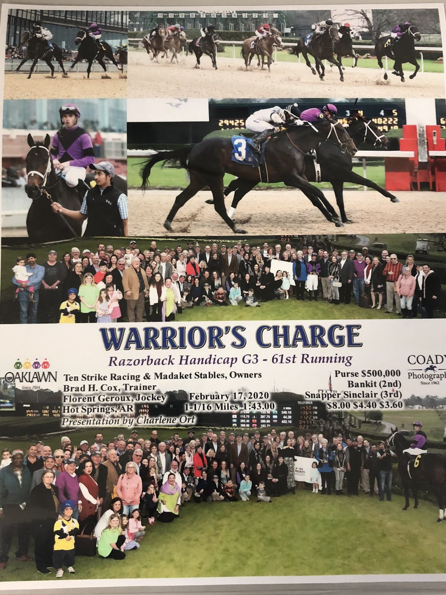 test Twitter Media - There isnt a more deserving horse or group of owners! Warriors Charge fought for his life last June when he coliced and he fought hard for this win today. Thanks to @roodandriddle @WinStarFarm for their care & @bradcoxracing & @flothejock for their perfect job today. Awesome win! https://t.co/dhoOZDaXUZ