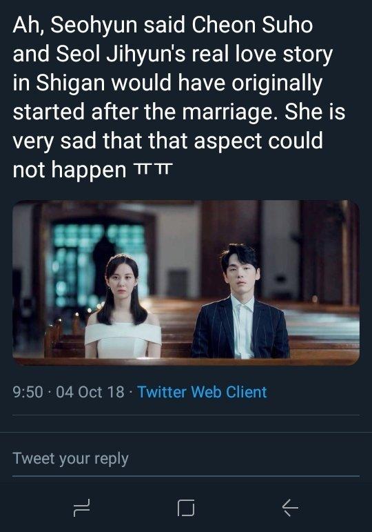 """Afghjk terbangsat #time sayang junghyun mang sakit sih. Tp bnr ini drama depressing. Gada intimate scenes gada lovely scenes samsek 😂 """"love confession"""" jg cm """"bcs i missed u"""" Gw nonton cutsnya jd ikutan mellow"""