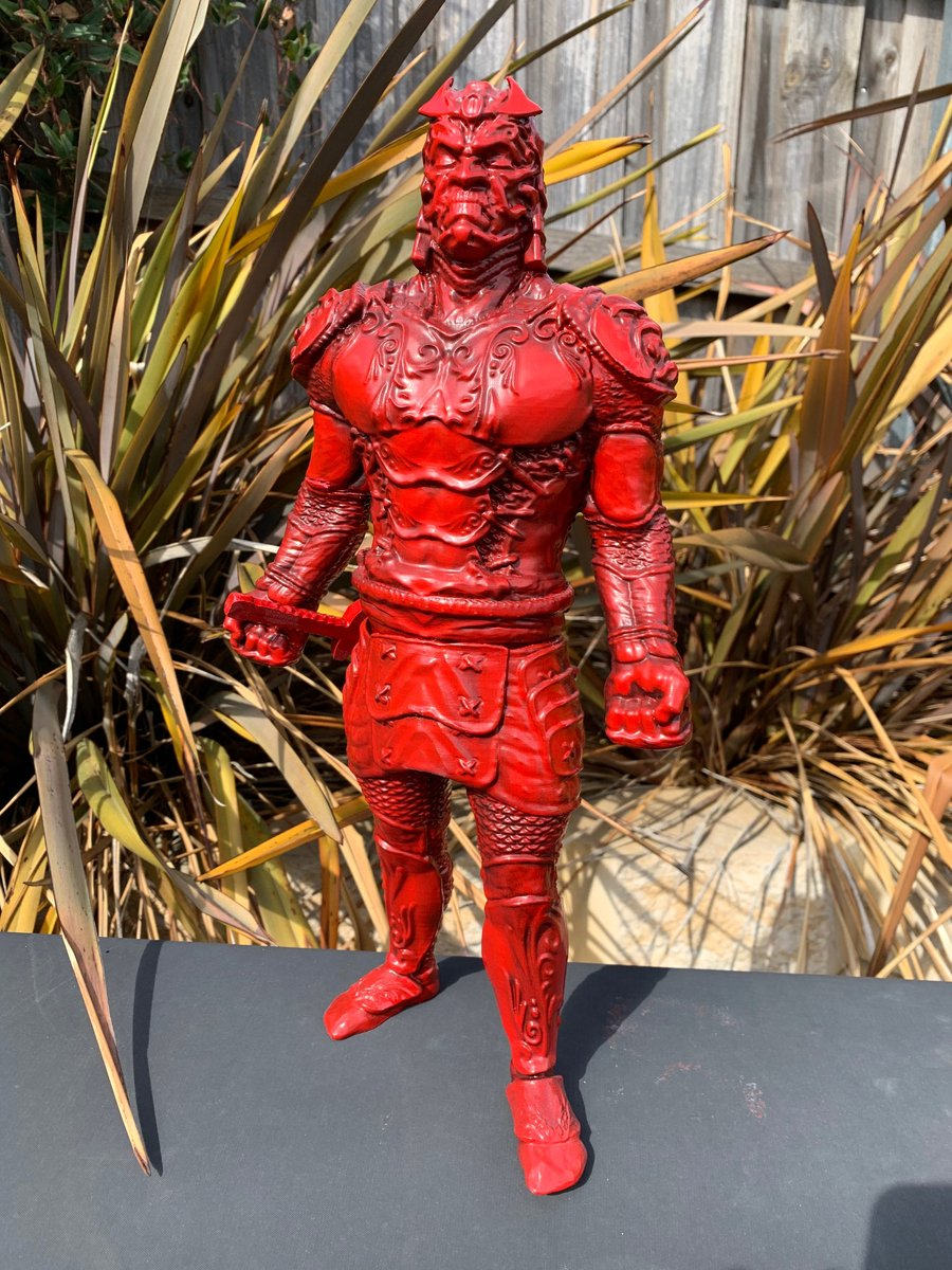 Samurai by Robber Rollin. 400mm tall, finished in Red. Printed on the Craftbot 3 @CraftBot3D  sliced with Simplify 3D @Simplify3D #3Dprinting #3dprint #3dprinter #3dprints #3Dprinted #3d #3dart #statue #samurai