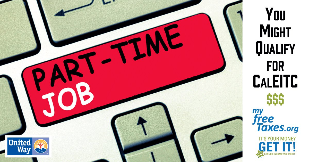 Work a part-time job? You could qualify for free taxes with CalEITC. Learn more @  #NSBCUW #Local #nonprofit #taxes #lowincome #findout #share #part #time #CalEITC