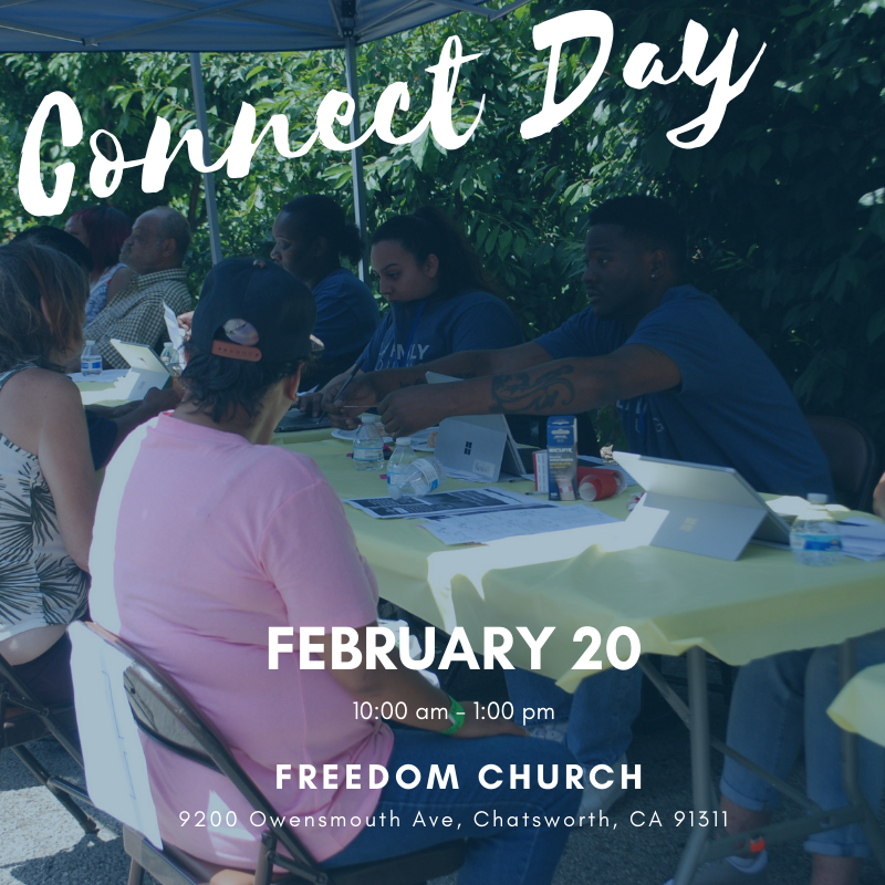 Our next Connect Day is this Thursday, February 20 from 10:00 am - 1:00 pm at Freedom Church in Chatsworth. This event helps connect people experiencing homelessness as well as those who are newly housed to important resources and support. Learn more at http://lafh.org/connect-to-services….