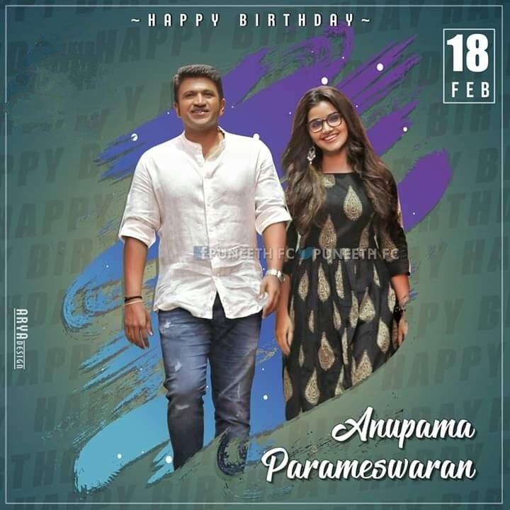 Wishing A Very Happy Birthday To @anupamahere 🎂 Have A Blockbuster Year Ahead 🎬 Best Wishes From @PuneethRajkumar Sir Fans 😇   #HappyBirthdayAnupama #HBDAnupamaFromAppuFans #AnupamaParameswaran  #PowerStar @PuneethRajkumar
