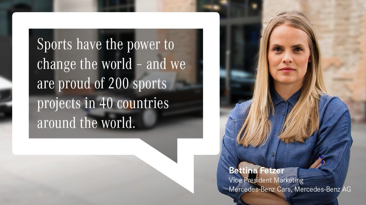 """""""For 20 years, we have been committed to helping socially disadvantaged children and young people together with Laureus Sport for Good"""", says Bettina Fetzer, Vice President Marketing #MercedesBenz Cars Mercedes-Benz AG. #laureus20   http://mercedes-benz.com"""