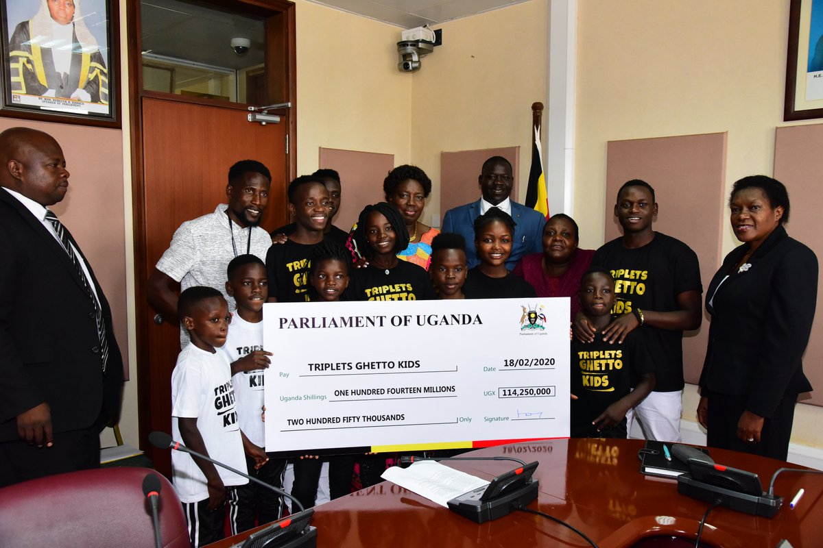 The Speaker @RebeccaKadagaUG has this morning handed over shs114 million to the #GhettoKids. The Speaker made the pledge at the Parliament end of year party last year where the dance group performed. @newvisionwire @The_Kampala_Sun @observerug @RedPepperUG