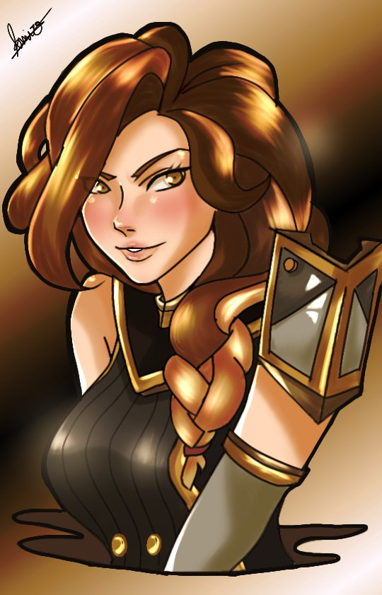 """Golden furia~ My recent """"Ash"""" artwork got a lot of likes and retweets. Thanks about that (〒﹏〒)/)  @PaladinsGame  @PaladinsArt"""