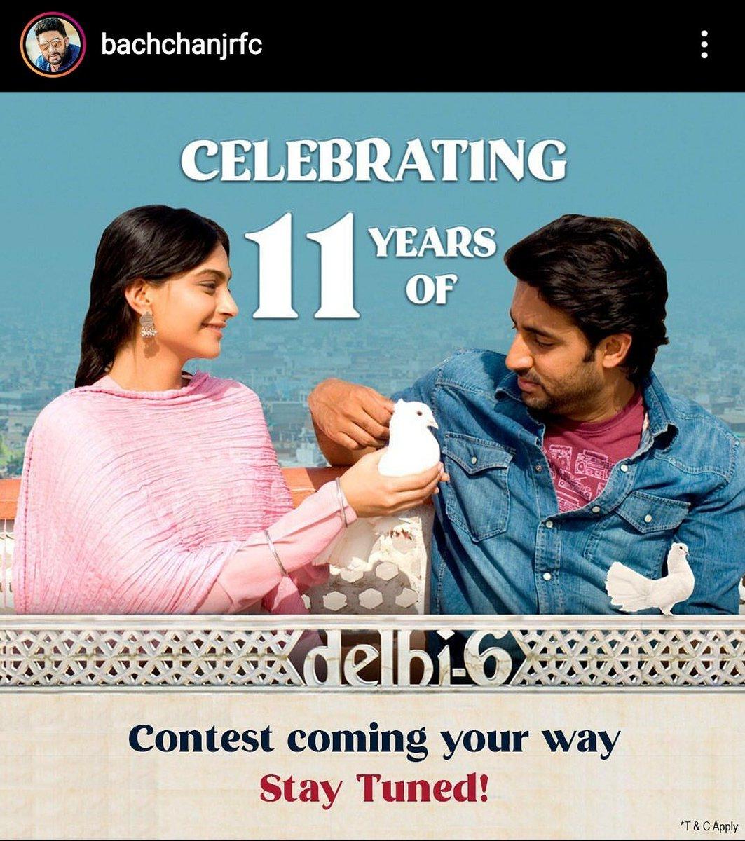 On Instagram,  @BachchanJrFC #AbhishekBachchan #11YearsOfDelhi6 #contest