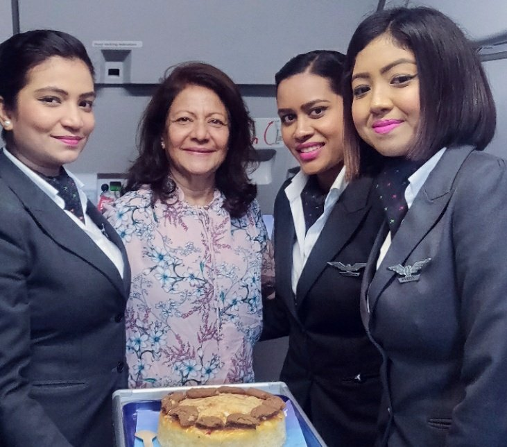 Birthday surprises in-flight are always a treat! 🎂We were delighted to celebrate Ms. Ranjana's birthday on board. #FlySmart