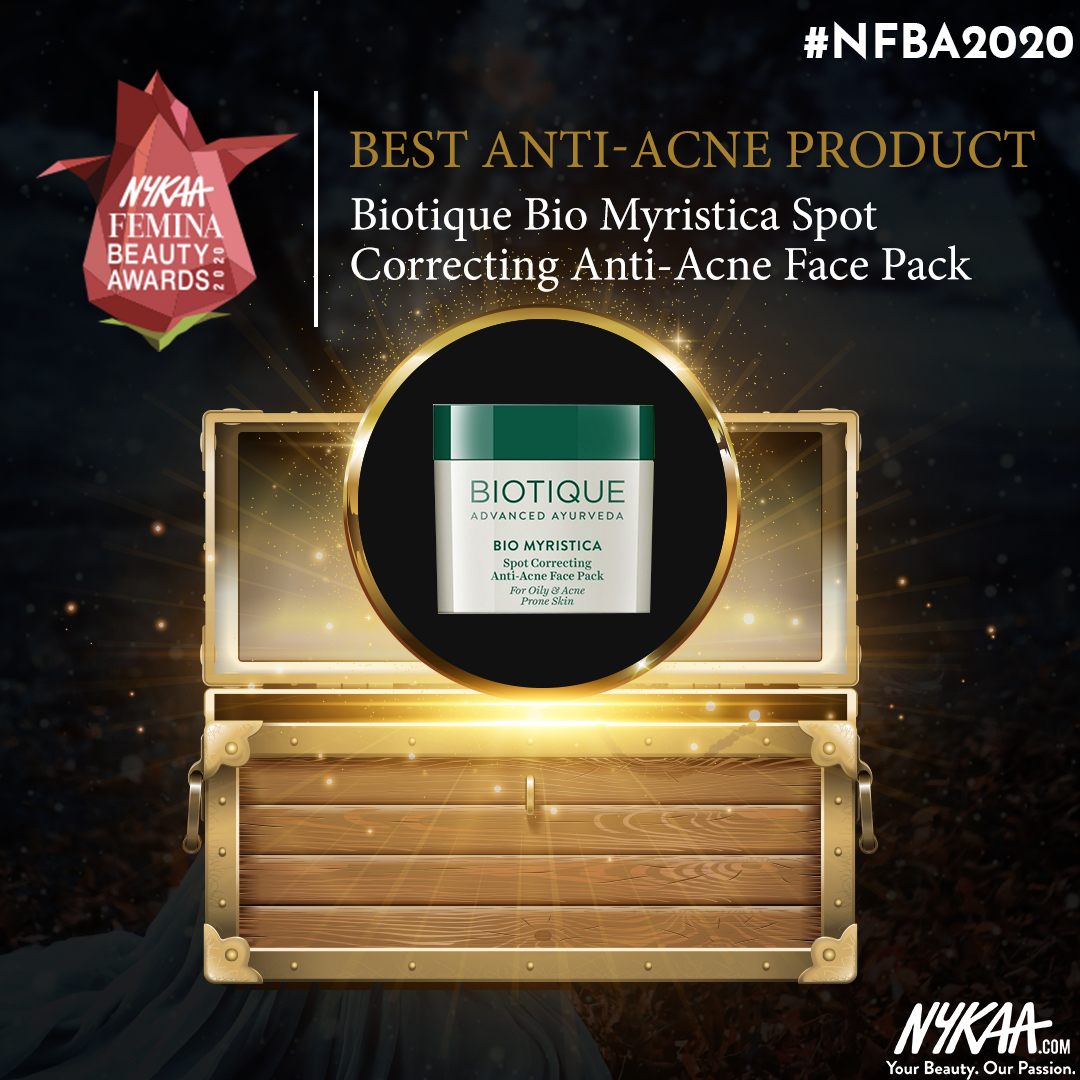 Acne-free this year with @Biotique_World ! Let's give them a hand for winning the best #Antiacne product at #NFBA2020 !!  #NFBA2020 #NykaaFeminaBeautyAwards #Nykaa #FeminaIndia @mynykaa @FeminaIndia pic.twitter.com/crsZldu3Nf