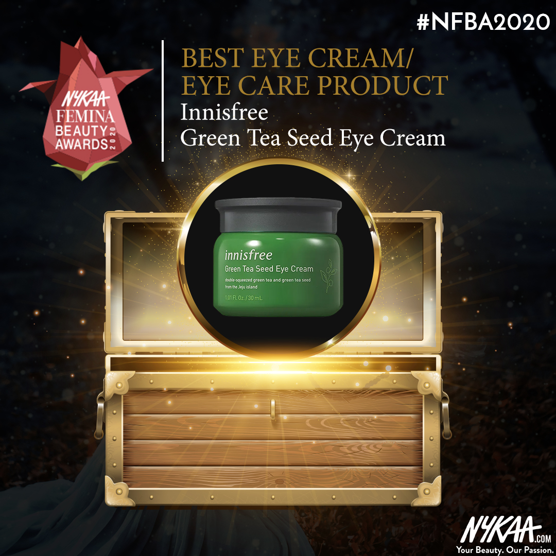 @innisfreeindia taken all our puffiness away always and now, the award for the best #Eyecream at #NFBA2020 !!  #NFBA2020 #NykaaFeminaBeautyAwards #Nykaa #FeminaIndia @mynykaa @FeminaIndia pic.twitter.com/WMnR3qE79s