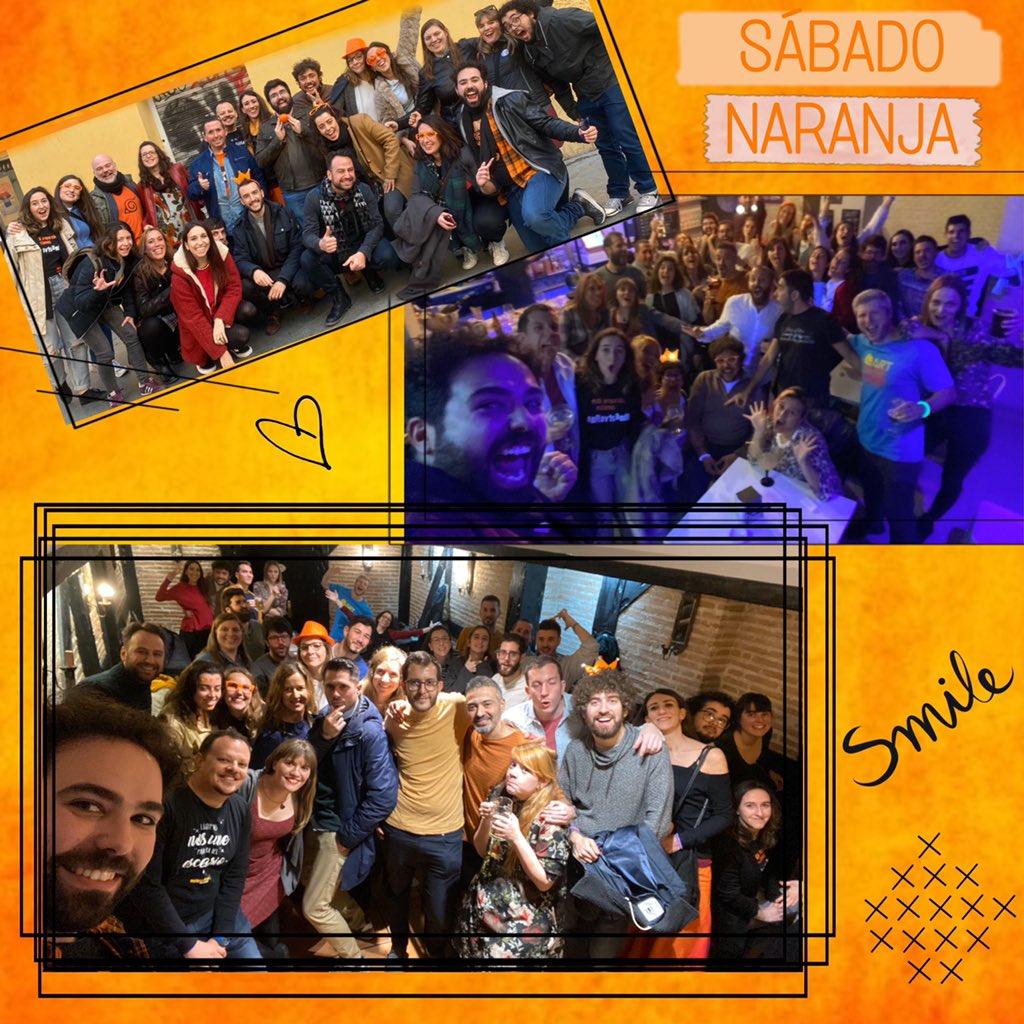 """El fin de semana hemos celebrado nuestro tradicional """"SÁBADO NARANJA"""". Un día en el que toda la #escuela salimos juntos.  #Gracias a todos por teñir el #sábado de naranja y hacernos disfrutar tanto. ¡Esperamos con ganas el siguiente!  #impro #fiesta #Madrid #cursos #teatropic.twitter.com/rCnD3dhsX6"""