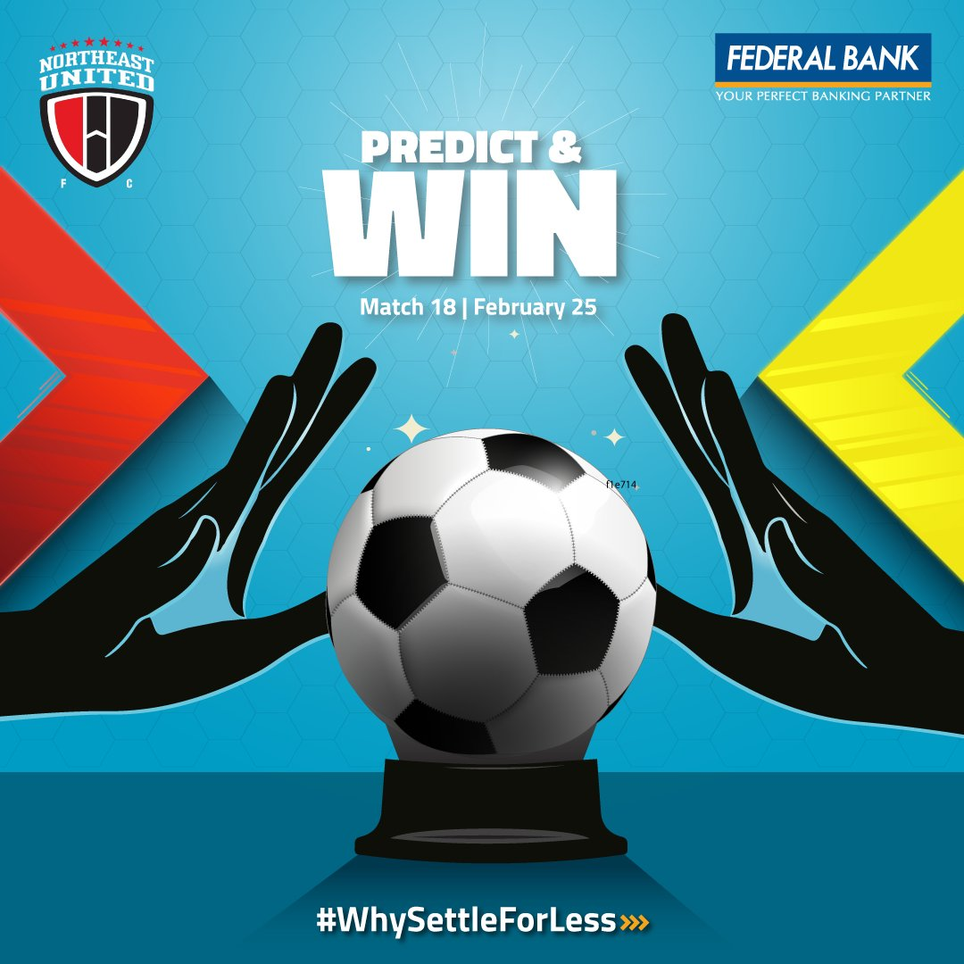 Predict the goal margin of the match between NEUFC & Chennaiyin FC on 25th Feb 2020 and stand a chance to win some amazing prizes.    T & C: http://bit.ly/PredictNWin    #WhySettleForLess #NEUFC #ISL #FederalBankLtd