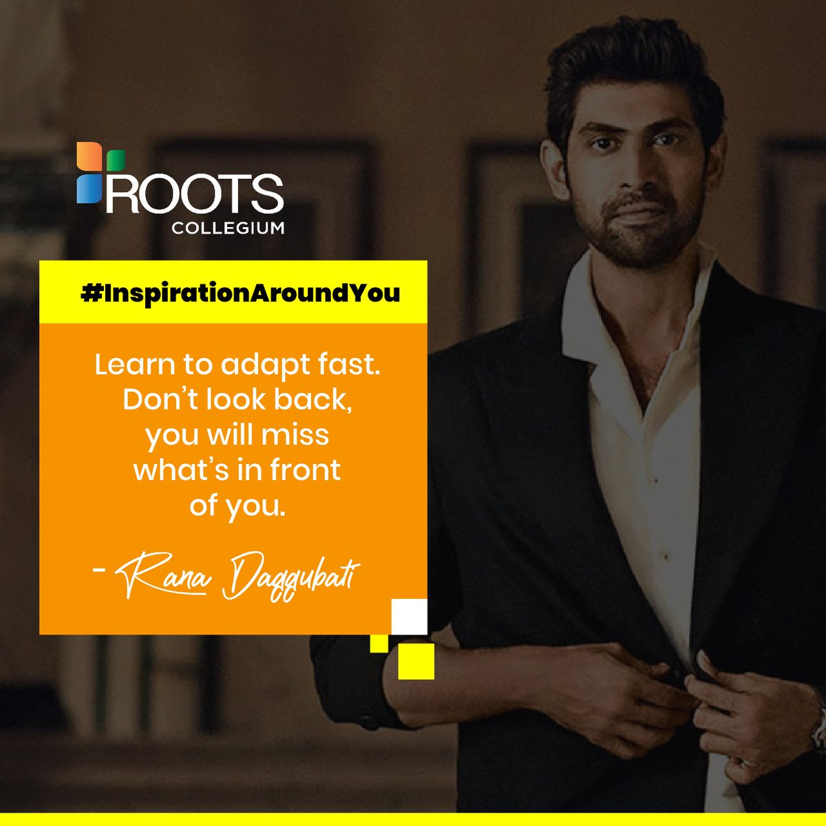 Follow your passion and don't be stuck in your past is the key inspiration which we can take from the journey of Rana Daggubati as an actor, producer and entrepreneur. #ROOTSCollegium #ROOTSHyderabad #wednesdaywisdom #InspirationAroundYoupic.twitter.com/J0GamJwIzh