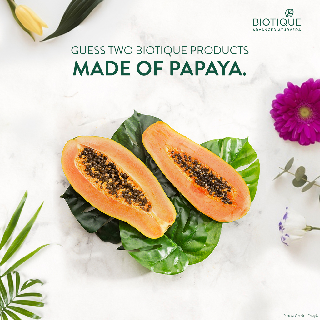 A new challenge is here! Can you name two products that uncover your skin's natural brightness with Papaya?  Give your answers in the comment below. Tag your friends and challenge them too!   #TuesdayTrivia #BeautyWithBrains #Challenge #Contest #Biotique #Natural #Ingredientpic.twitter.com/Dodhb5dmqr