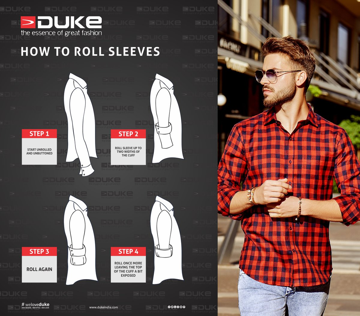 4 different ways to roll shirt sleeves.  #Duke #Shirts #roll #Fashion #style #information #knowledge #instafashion #Pinterest #info #Instagood #DukeFashion #weloveduke #shirt #trendsetter #look&style