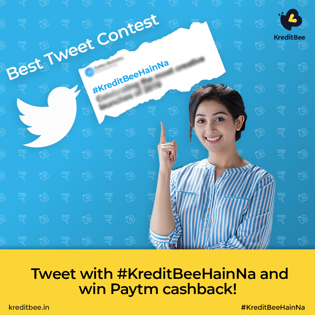 #ContestAlert! How to enter?  1. Tweet using the hashtag #KreditBeeHainNa. 2. Follow @kreditbee and retweet this post. 3. Reply to this post & tag 3 of your friends. 3 random lucky winners will win ₹500 Paytm Cashback. Winners will be announced on Monday!pic.twitter.com/4aCYAwSu9V