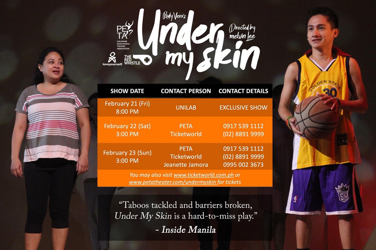 """Don't miss the must-see triumphant advocacy play and Rody Vera's most accomplished original theatrical piece in years, """"Under My Skin"""", directed by Melvin Lee, this week! #PETAUnderMySkin #ActingOnHIV  @TicketWorldInc  8891-9999  http://www.ticketworld.com.phpic.twitter.com/mqNn3eRMTc"""