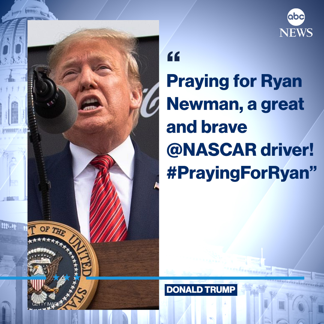 Pres. Trump tweeted support for NASCAR's Ryan Newman after the driver was seriously injured in a fiery crash at the end of the Daytona 500. https://abcn.ws/2uKGalZ