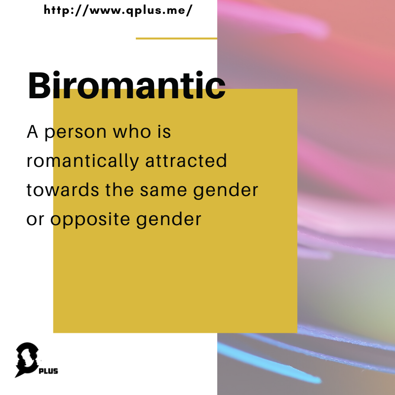What is Biromantic?  Follow Q Plus for more updates: http://qplus.me  #QPLUS #LGBTQ #Qplusmyidentity #LifestyleMagazine #Biromantic  #Sexuality #QPlusMe #romanticism #BiromanticAwarenessWeekpic.twitter.com/aCCqEadhgZ
