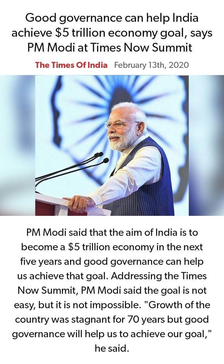 Good governance can help India achieve $5 trillion economy goal, says PM Modi at Times Now Summit  https://timesofindia.indiatimes.com/india/good-governance-can-help-india-achieve-5-trillion-economy-goal-says-pm-modi-at-times-now-summit/articleshow/74103428.cms… via NaMo Apppic.twitter.com/ofOufC4GkR