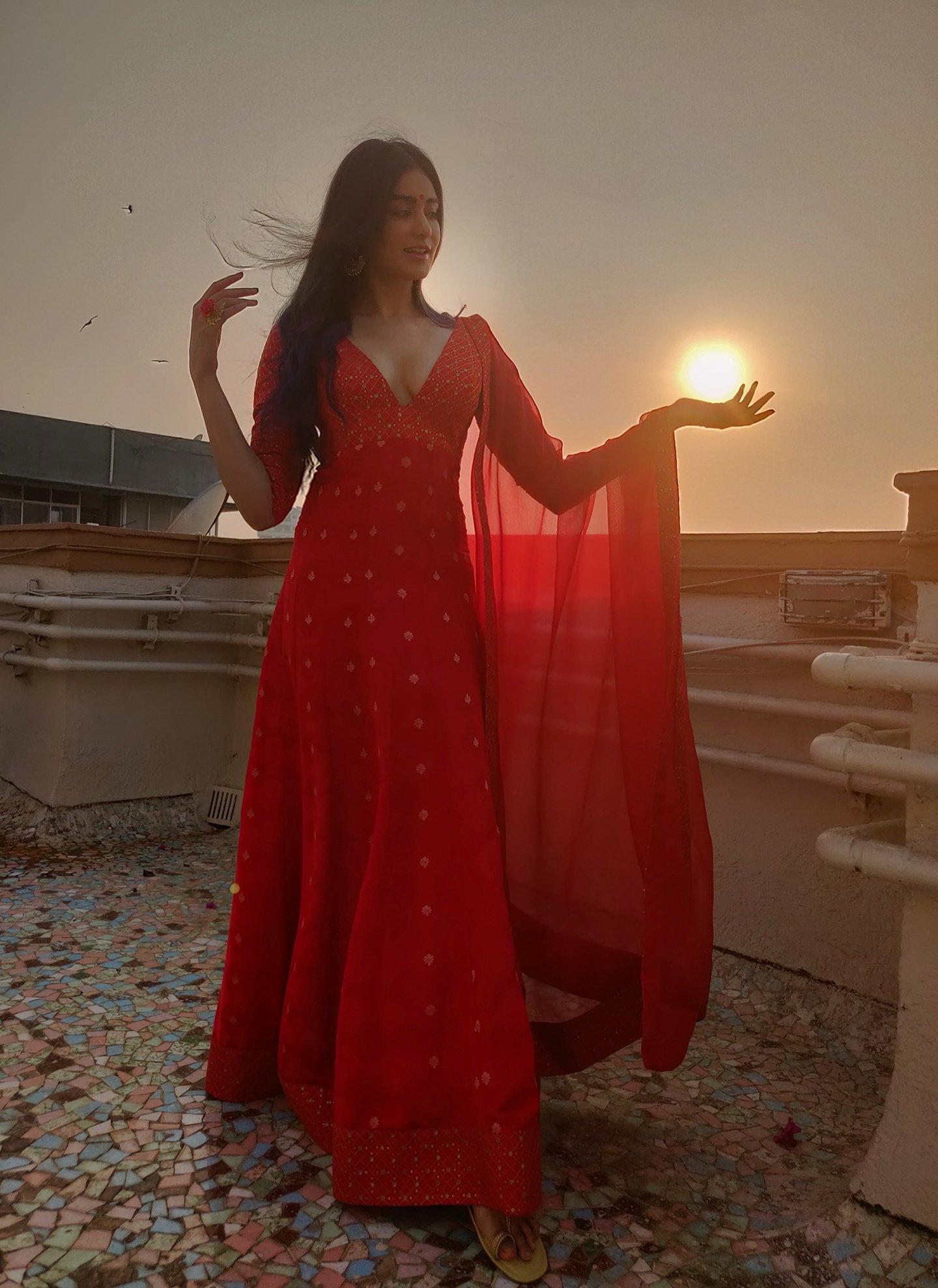 Adah sharma in red