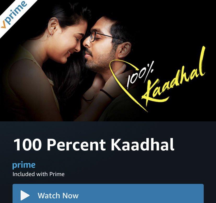 @gvprakash - #ShaliniPandey Starring #100PercentKaadhal (Tamil)  Now Streaming On 'Amazon Prime Video'   Official Remake Of Blockbuster Telugu Film #100PercentLove  @mmchandramouli @actornasser #ThambiRamaiah #Jayachitra @manobalam @creativcinemas @ccnyusa @VanquishMedia__pic.twitter.com/QMWn5qvSQB