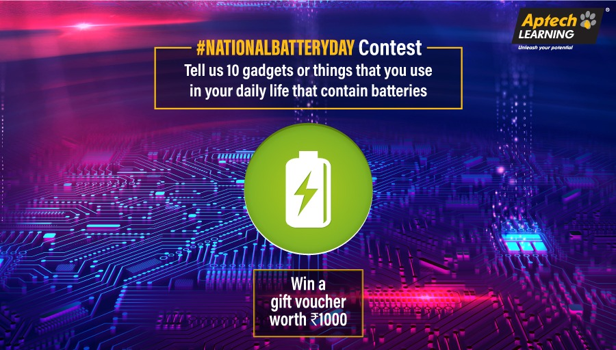 Participate in the National Battery Day Contest and stand a chance to win a gift voucher worth Rs.1000. Check out our Facebook Post to participate: http://bit.ly/NationalBatteryDay_Fb_post…   #AptechLearning #FollowYourPassion #Contest pic.twitter.com/bNdlAvFaDB