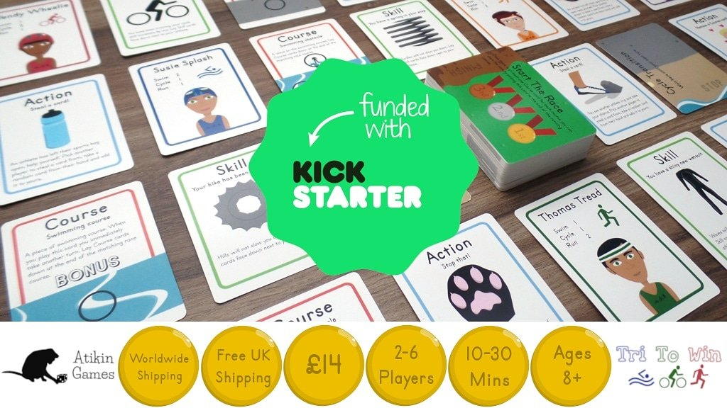 Tri To Win is 100% funded! Thank you so much for all of your support! 2 days left to go, but this feels so amazing, thank you all!  #funded #kickstarter #triathlon #cardgame #tuesdayMotivation #happy #boardgame #boardgamegeek #keepgoing #bgg #IndieGameDev  http://www.atikingames.com pic.twitter.com/GcJuu9Ol86