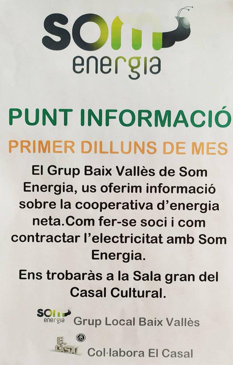 Recordeu que cada primer dilluns de mes, tenim els de @somenergiaBV per donar informació sobre la cooperativa d'energia neta... pic.twitter.com/8kxXid3Sv9