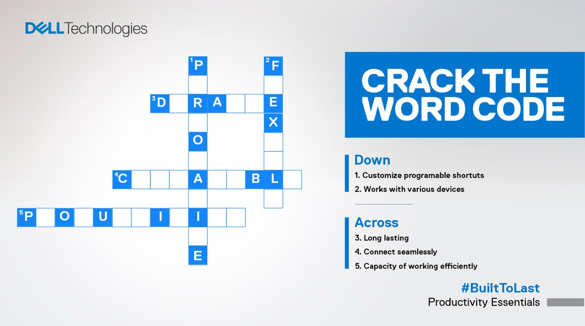 #ContestAlert Solve this crossword and you stand a chance to win.   Hint: The words define Dell's new Multi-Device Wireless Mouse - MS5320W.   The contest is live now!  #ProductivityEssentials #BuiltToLast https://dell.to/3bAvuqopic.twitter.com/k7Ek6pkgvm