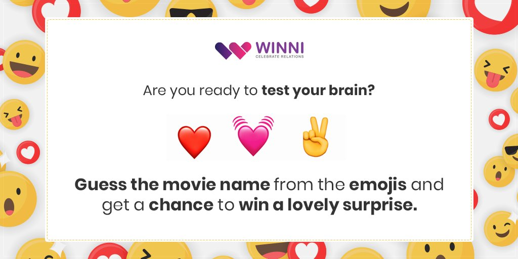 Are you ready to test your brain?     Guess the #movie name from the emojis and get a chance to #win a lovely surprise.  #winni #WinniGifts #puzzles #puzzlelover #guessthemovie #brainpuzzle #braintest #testbrain #winner #movies #movieloverpic.twitter.com/qVn6lfRKi7
