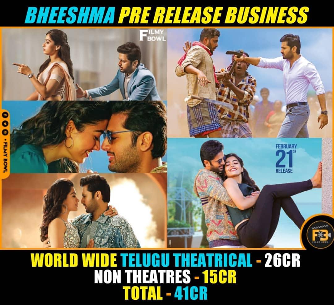 #Bheeshma Pre Release Business   #Nithiin #RashmikaMandanna  #Rashmika #BheeshmaOnFeb21st   Follow @FilmyBowlpic.twitter.com/YICcBmbpAv