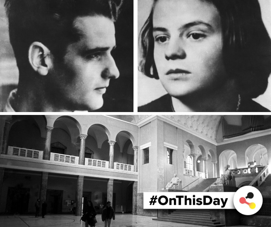 #OnThisDay in #Germany: In 1943, the siblings Hans and Sophie Scholl, members of the White Rose #resistance group, are observed distributing leaflets at @LMU_Muenchen in Munich and are arrested by Nazi henchmen.#OTD #GermanHistory #WW2 #Courage @HISTORY #WhiteRose #SophieScholl pic.twitter.com/7wuWYA1R6H