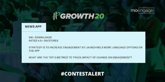 #ContestAlert : A news app with 5m+ downloads and 4.5+ ratings, wants to increase #engagement by launching 3 more language options. What should be the top 3 metrics to track impact in engagement? Follow us and comment below your ans to win @amazon gift voucher worth ₹2000!🤑🚀💥