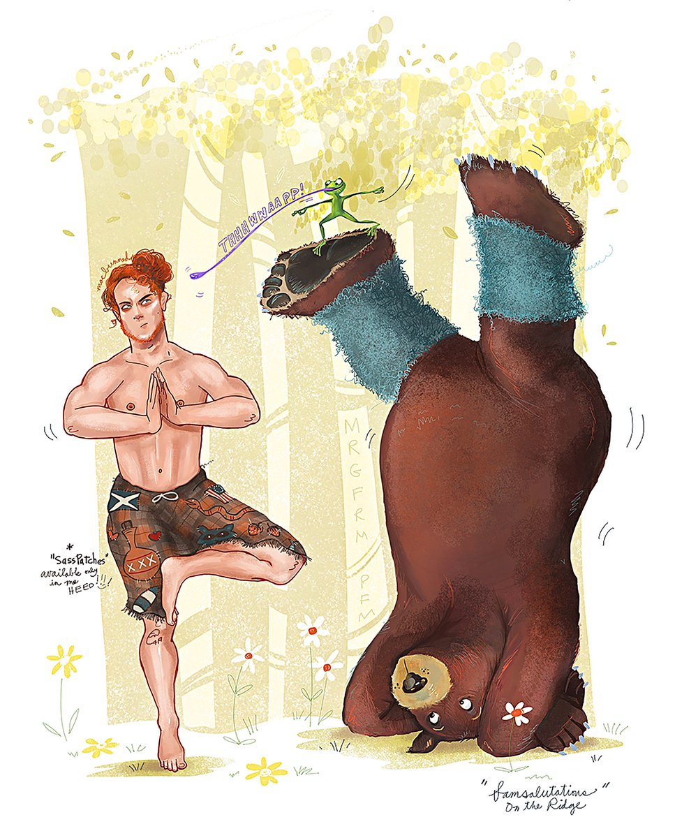 The bts yoga/bear struggles of #JamieFraser at #FrasersRidge 😃😃 #Outlander 🧘♂️🐻 By @thenewredplaid