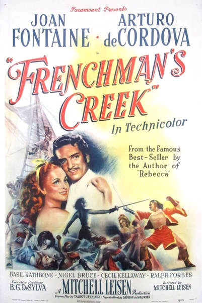 FRENCHMAN'S CREEK (1944) Joan Fontaine, Arturo de Córdova, Basil Rathbone. Dir: Mitchell Leisen 4:00 AM ET    A British noblewoman flees the life of the court to run off with a French pirate.  Color, 113 mins, CC, #romance #TCM pic.twitter.com/yc3prBl6RD