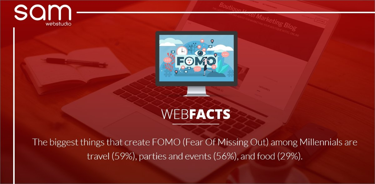 The biggest things that create #FOMO (fear of mission out) among Millennials are #travel (59%), #parties and #events (56%), and #food (29%). Follow @samwebstudio for more updates.⁠ . #samwebstudio #webfacts #webtips #techupdate #technologynews #technology #fearofmissingoutpic.twitter.com/Znuug56JIl