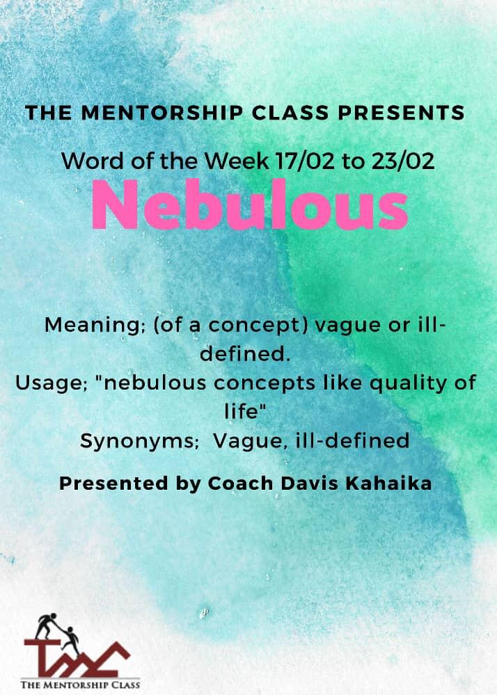 """Nebulous adjective   """"nebulous figure"""" Indistinct, indefinite, unclear, hazy, cloudy, fuzzy, blurred, shadowy, obscure, amorphous.  """"nebulous ideas"""" Vague, unclear, uncertain, imprecise, unformed, muddled, confused, ambiguous.  Opposite- Clear.  #TMCMentors #TMCMentees<br>http://pic.twitter.com/gLB4NN48Fy"""