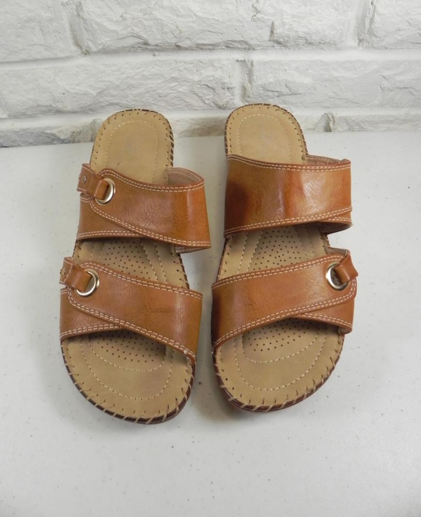 Lady Godiva Slip On Slide Sandal Camel 10  @eBay #clothing #fashion