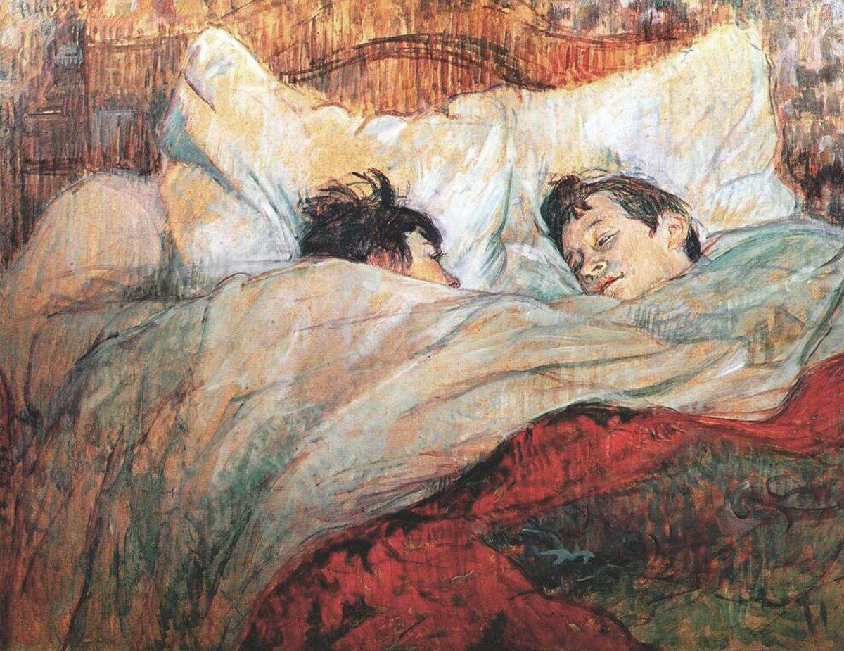 Toulouse-Lautrec spent a lot of time through the 1890s painting the prostitutes, residents and visitors of a Parisian brothel on the rue d'Ambroise. The observational paintings are intimate, warm and compassionate towards the subjects..  #art #painting #ToulouseLautrec <br>http://pic.twitter.com/BnZof0sbnq