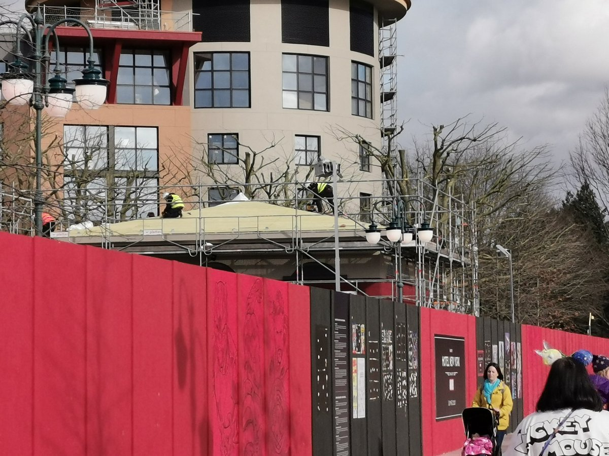 Some roofing work underway on the buildings at the front of Hotel New York /The Art of Marvel Hotel #theartofmarvel its getting excitingly close!