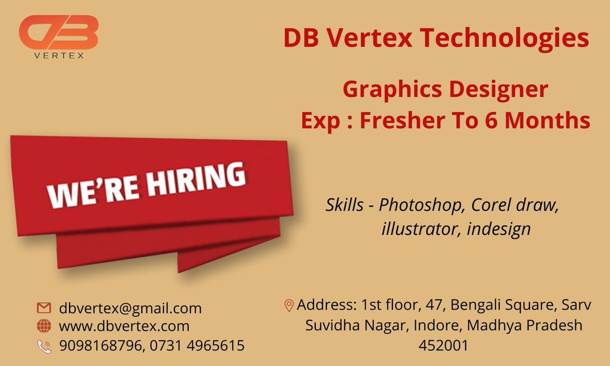 We are looking for a Graphics designer to create engaging and on-brand graphics for a variety of media. Salary : Dependent on knowledge candidate Interested Candidates share updated CV at dbvertex@gmail.com<br>http://pic.twitter.com/MhthKsgBkC