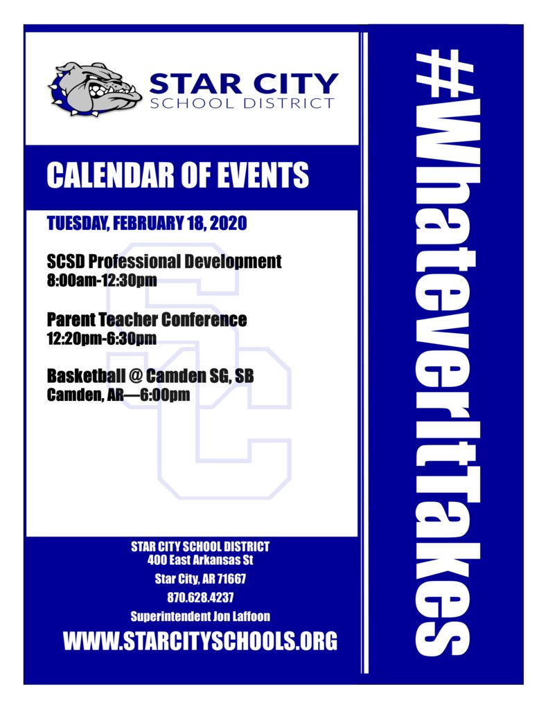 Star City School District Events for Tuesday, February 18, 2020. #WhateverItTakes