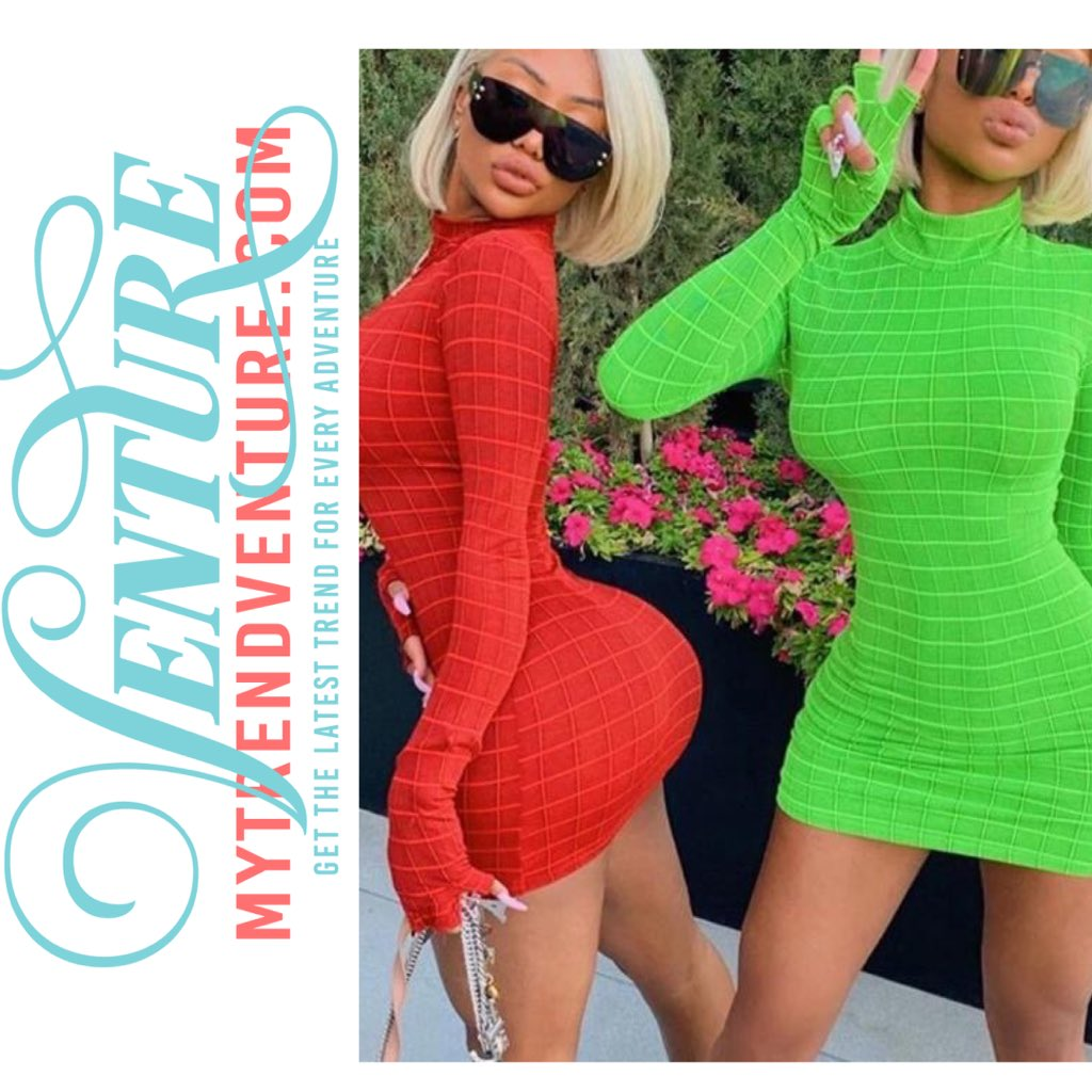 •Plaid Long Sleeve Turtleneck Bodycon Dress•  @mytrendventure #mytrendventure • • #twopieceset # #partydress #gymset #pinterest #sezzle #lingerie #pajamas #plussize #blouses #tshirt #dress #gym #workout #fauxfur #gymtime #workoutmotivation #work