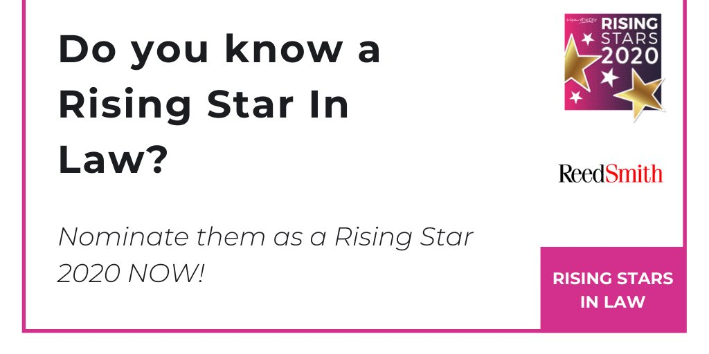 Do you know a Rising Star in #Law? ⭐️ Want to celebrate a woman's #career #achievements? ⭐️  Nominate them for the #RisingStars 2020 awards now! @reedsmithllp  #womeninlaw #womenlawyers #genderequality #womensolicitors #womeninlegal #womeninlawtech  https://buff.ly/2GpKdVg