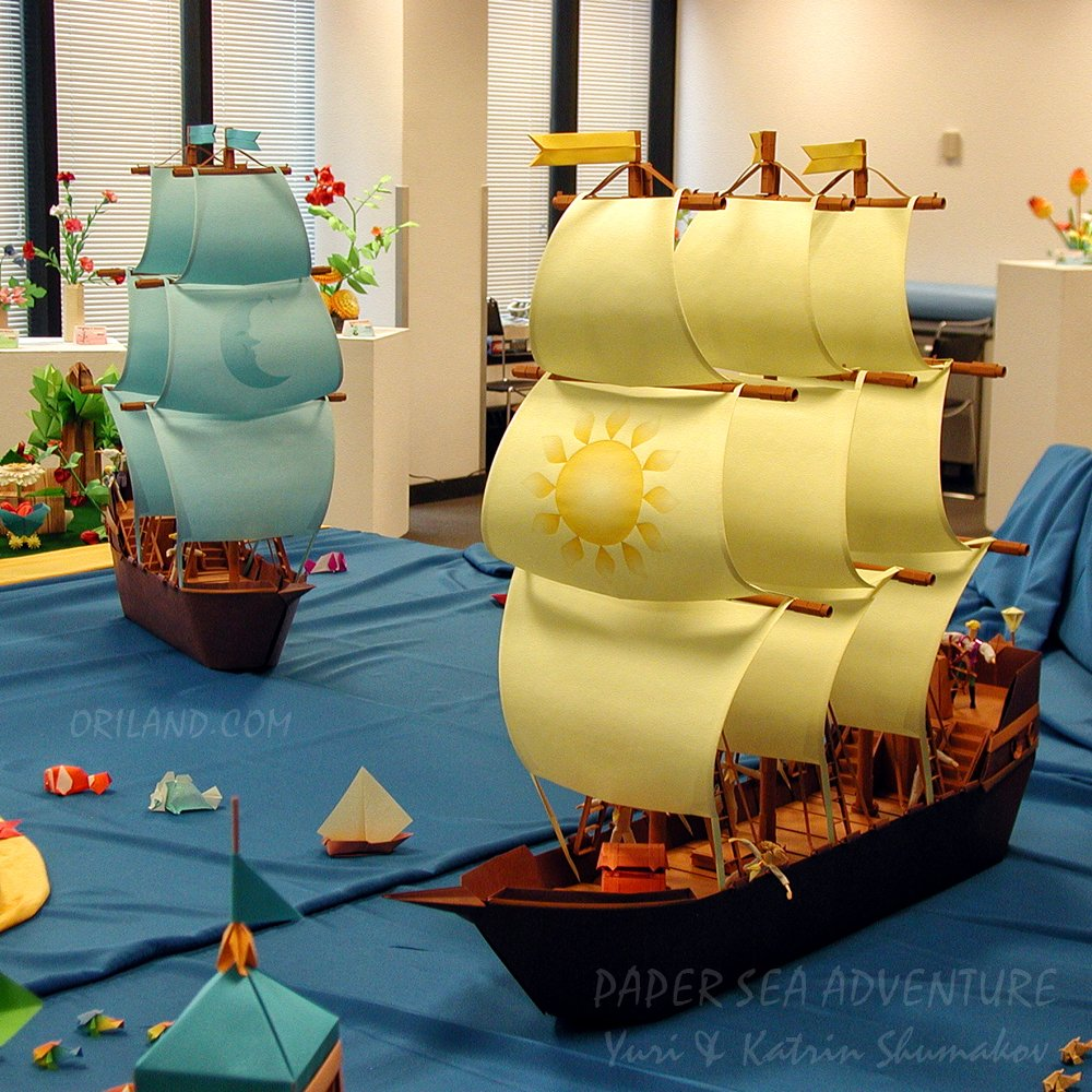 Tour along Oriland... #Paper Sea! :-)  Here are Sailing Ships plowing through waters of Oriland Sea - blue 2-mast 'Moonlight' and 3-mast 'Sunny Wind'!   Smaller ships + many related designs @ #ORIGAMI SAILING collection    Happy folding! #art #exhibition