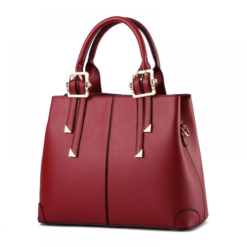 #swag #summer Casual Fashion PU Women Handbag Wine Red Elegant Office Lady Shoulder Bag Clutch Tote Zipper