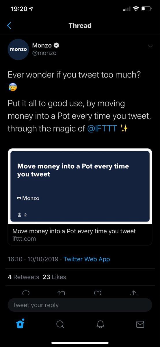 Add money to your savings pot every time you Tweet with Monzo with IFTTT  @Monzo @Twitter @IFTTT #Fridayfeeling #Fridaymotivation #Fridaythoughts