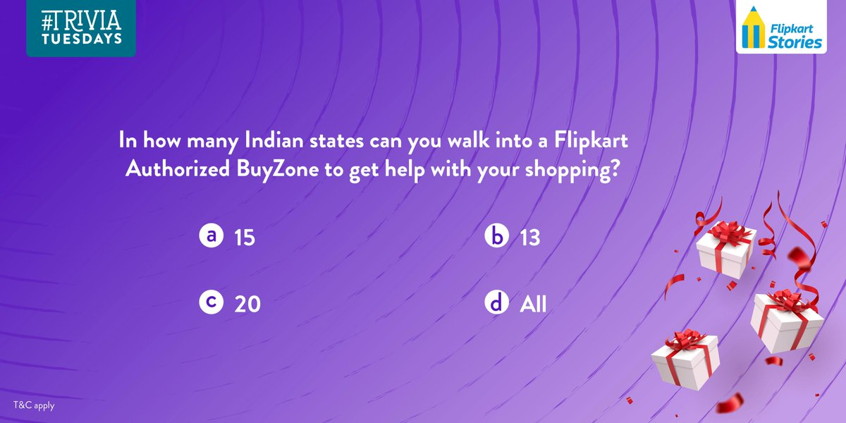 #TriviaTuesdays Q1 of 4: Let's get started with an interesting one.  In how many Indian states can you walk into a @Flipkart Authorized #BuyZone to get help with your shopping? #ContestAlert #TuesdayThoughtspic.twitter.com/KjFZJStlY6