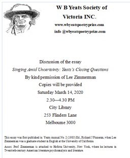 W B Yeats Society of Victoria #event coming up in #Melbourne on 14th March...pic.twitter.com/rCDxeABXwV