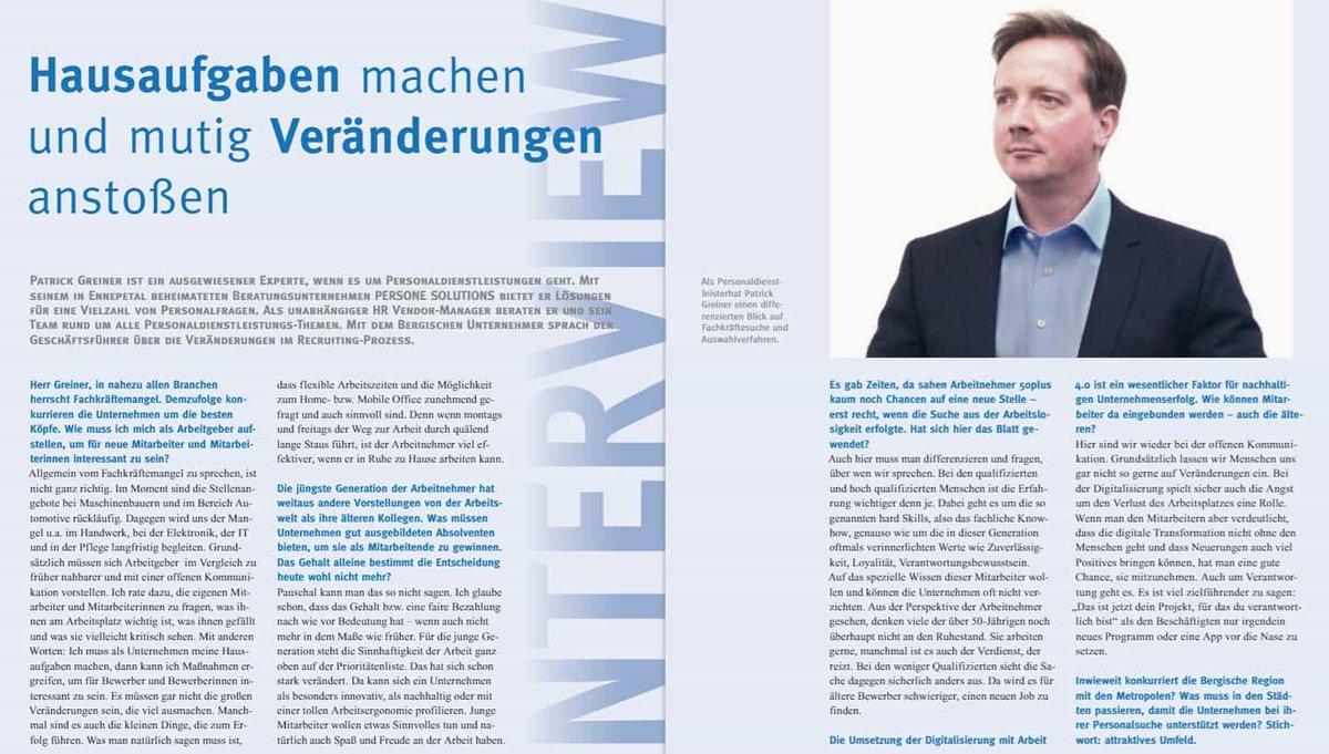 """""""Fachkräfte finden in Zeiten von Arbeit 4.0"""" - Interview im Bergischen Unternehmen   Was ich unter """"Hausaufgaben machen und mutig Veränderungen anstoßen"""" verstehe, finden Sie ab Seite 22.  Kostenloser Link: https://www.yumpu.com/de/document/view/63074323/der-bergische-unternehmer-02-2020…  Ich freue mich auf Ihr Feedback.  #Personal #HRpic.twitter.com/xzluYQQWbA"""